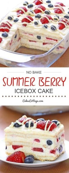 Bake Summer Berry Icebox Cake - Cakescottage Looking for a quick and easy Summer dessert recipe? Try out delicious No Bake Summer Berry Icebox Cake !Looking for a quick and easy Summer dessert recipe? Try out delicious No Bake Summer Berry Icebox Cake ! Easy Summer Desserts, Summer Dessert Recipes, Recipes Dinner, Easy Delicious Desserts, Easy Summer Dinners, Food For Summer, Easy No Bake Desserts, Easy Dinner Party Desserts, Summer Treats