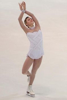 Ashley Cain - White Figure Skating / Ice Skating dress inspiration for Sk8 Gr8 Designs. love her dress