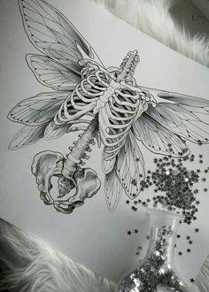 Okay but with bird wings dibujos calaveras Art Drawings Sketches, Tattoo Drawings, Body Art Tattoos, Drawing Art, Skull Drawings, Skull Sketch, Skull Tattoos, Drawing Birds, Bird Sketch