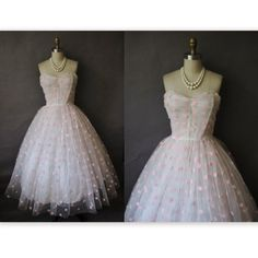 50's Wedding Dress // Vintage 1950's Flocked White Tulle Pink Polka Dot Strapless Wedding  Prom Dress S M