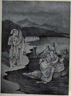 Krishna and Vyasa console Ganga after Bhishma's death