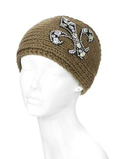 3e90a1c5ad9 Womens Fleur De Lis Jewel Patch Knit Wide Head Wrap Head Warmer Brown    Click on the image for additional details. (Note Amazon affiliate link)