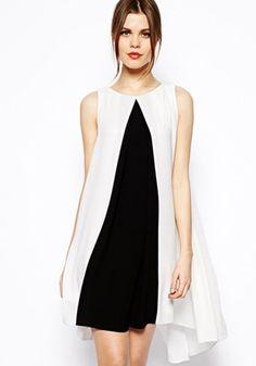 White Patchwork Black Double-deck Sleeveless Chiffon Dress