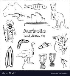 Collection of australia doodle Royalty Free Vector Image , Easy Doodles Drawings, Simple Doodles, Free Vector Images, Vector Free, Travel Doodles, Books Australia, Bullet Journal For Beginners, Doodle Books, Pattern Sketch