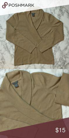 Ann Taylor Tan Sweater Ann Taylor petite sweater, wrap-like neckline. Size is L Petite. Ann Taylor Sweaters