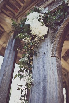 Gypsophilia & hydrangea garland - possibility to do similar thing with ivy for pew ends?