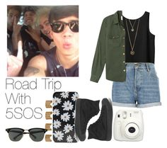 """""""Road Trip With 5SOS"""" by the4dipshits ❤ liked on Polyvore featuring moda, Monki, River Island, With Love From CA, Forever 21, Converse, Maison Margiela e Ray-Ban"""