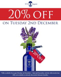 You can shop this fantastic pre Christmas sale on dec 2nd! at uk.nyrorganic.com/shop/sarah_hannant contact me for any further details. Gifts are included :D x