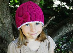 Pink Bow Knit Hat by TheMadKnitterShop on Etsy