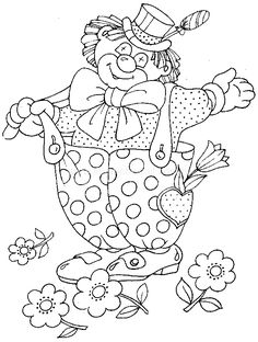 Coloring pages for kids to print - Clowns and circus coloring Cute Coloring Pages, Flower Coloring Pages, Coloring Pages To Print, Coloring Pages For Kids, Coloring Sheets, Adult Coloring, Coloring Books, Clown Pics, Circus Activities