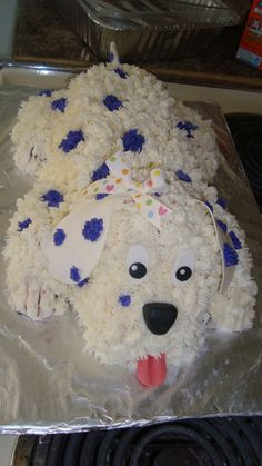 Puppy Dog Cake - Purple White Buttercream