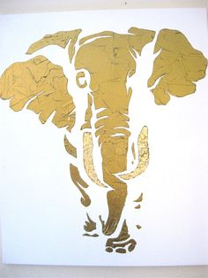 Items similar to Beautiful hand painted large bronze elephant with gold leaf on Etsy Elephant Tatoo, Elephant Art, Elephant Paintings, Elephant Outline, Gold Leaf Art, Gold Art, Painting With Gold Leaf, Painted Leaves, Hand Painted