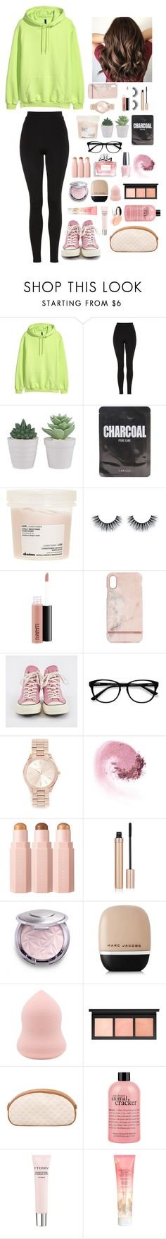 """""""*Pink and green*"""" by gussied-up on Polyvore featuring Topshop, Lapcos, Davines, MAC Cosmetics, Richmond & Finch, Converse, EyeBuyDirect.com, Michael Kors, OPI and Christian Dior"""