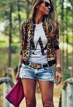 awesome Trendy Prints for summer, leopard jacket Mode Outfits, Short Outfits, Stylish Outfits, Spring Outfits, Fashion Outfits, Womens Fashion, Fashion Trends, Fashion Inspiration, Look Con Short