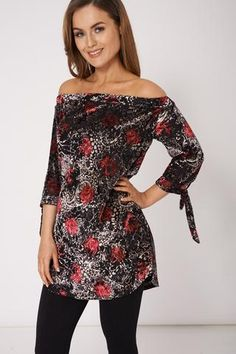 PATTERNED SOFT TOUCH BARDOT TOP