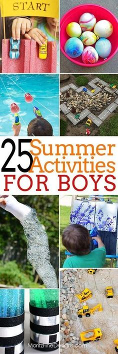Over 25 Summertime Activities for Boy Of All Ages This summer keep your boys busy with this amazing list of 25 summer activities for boys of all ages--includes both indoor and outdoor activities. Outdoor Activities For Kids, Craft Activities, Toddler Activities, Games For Kids, Outdoor Games, Backyard Games, Family Activities, Outdoor Play, Water Activities