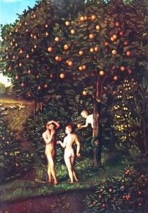 """The Tree of the knowledge of good and evil is one of two trees in the story of the Garden of Eden in Genesis along with the Tree of life. """"The Fall of Man"""" by Lucas Cranach the Elder. The Tree of Knowledge is on the right. The Falling Man, Dat Adam, Francis Hallé, Fruit Défendu, Out Of Eden, Adam Et Eve, Tree Tattoo Men, Kunsthistorisches Museum, Lucas Cranach"""