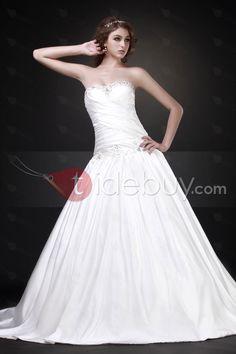 Aラインスイートハートネック床長さのチャペルトレインビーズウェディングドレス
