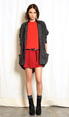 Red Dress + Cardi