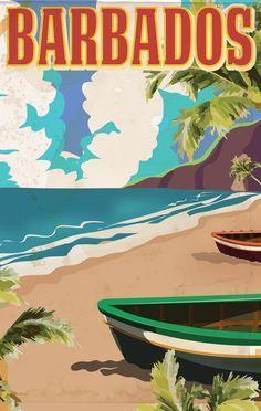 Vintage Travel Poster - Barbados ~ by Nicholas Green.