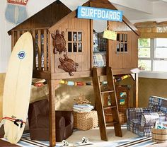 This would be THE coolest bed ever if I were a kid and had my own room.   Surfer Shack