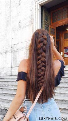 Dutch Braid Hair Tutorial - added wefts of Seamless Luxy Hair extensions in Chocolate Brown for added thickness # long Braids dutch How To Do a Dutch Braid: Hair Tutorial For Beginners Hair Extensions Tutorial, Luxy Hair Extensions, Braided Hairstyles Tutorials, Box Braids Hairstyles, Wedding Hairstyles, Dutch Braid Tutorials, Fashion Hairstyles, Homecoming Hairstyles, African Hairstyles