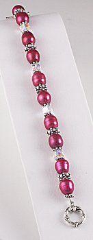Jewelry Making Idea: Raspberry Pearls Bracelet (eebeads.com)