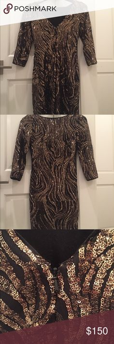 AIDAN MATTOX New Year's Eve party rhinestone dress Aidan Mattox Was 380$  Sz 4 Uk - 32 EU Aidan Mattox Dresses Long Sleeve