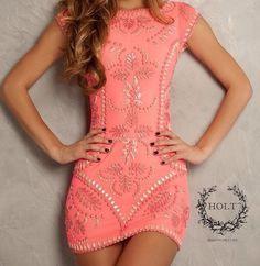 Coral mini dress very cute, love the look Pretty Dresses, Sexy Dresses, Beautiful Dresses, Short Dresses, Gorgeous Dress, Fashion Dresses, Peach Dresses, 60s Dresses, Beaded Dresses