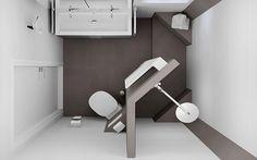 Vind afbeeldingen van moderne Badkamer: Bovenaanzicht van het badkamerontwerp voor de kleine badruimte. Ontdek de mooiste foto's & inspiratie en creëer uw droomhuis.