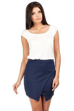 Dark blue mini skirt with establishing envelope