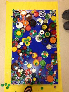 candice ashment art: kid art projects - bottle caps art with tutorial