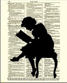 Reading Girl Silhouette Dictionary Art Print, Antique Dictionary Page, Silhouette Art, 122.10.00, via Etsy.