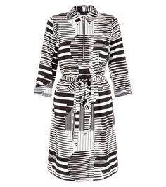 Monochrome Geo Print Zip Front Belted Shirt Dress