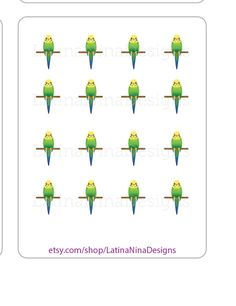Parakeet stickers, green parakeet, planner stickers, bird stickers, pet bird stickers, green bird, kiss cut, matte, glossy, hand drawn by LatinaNinaDesigns on Etsy