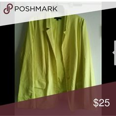 Lane Bryant Citrine Blazer (Modernist Collection) Preowned- purchased from a posher but never worn by me- excellent condition- color is a mix between a lemon and a lime Lane Bryant Jackets & Coats Blazers