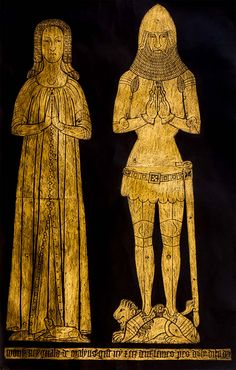 Sir Reginald de Malyns and one of his wives | English brass rubbings
