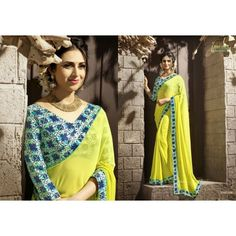Gorgeous work wear yellow printed saree