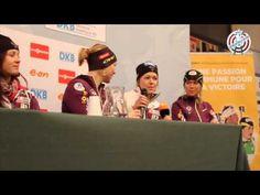 Conférence de Presse de l'équipe de France féminine de biathlon lors de la Coupe du Monde du Grand Bornand (France)