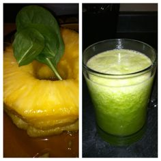 1/2 Pineapple  1 Pear  2 Handfuls spinach  30 (or so) mint leaves  2 cups water