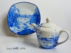 TEAPOT Hand painted porcelain blue and white TEA POT (55.00 GBP) by LanaArkhi