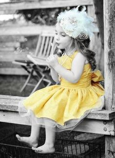 touch of yellow dress. COLOR SPLASH..