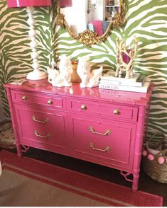 Bryohill Faux Bamboo Dresser Lacquered in Peony Pink FREE Furniture Making, Diy Furniture, Luxury Furniture, Palm Beach Decor, Fine Paints Of Europe, Vintage Dressers, Faux Bamboo, Painted Bamboo, Furniture Makeover