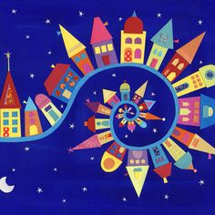 Colorful Town --- Caroline Rose Art - Twisty Twirly Town art print This could be my joy to the world or it's a small world banner Auction Projects, Art Auction, Art Projects, Club D'art, Art Club, Arte Elemental, Classe D'art, Ecole Art, Inspiration Art