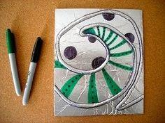 Foil art- with string glued under foil and texta colour adde Tin Foil Art, Classe D'art, 6th Grade Art, Ecole Art, School Art Projects, Middle School Art, Art Lessons Elementary, Elements Of Art, Art Lesson Plans