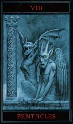 The Gothic Tarot: Eight of Pentacles
