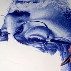 """Step by step. Ballpoint Pen Drawing, Pens, Artists, Drawings, Instagram Posts, Blue, Characters, Old Men, Portraits"