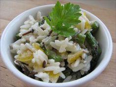 Recette Entrée : Salade de riz, asperges vertes & tomates jaunes - sauce au boursin moutarde par Delphine0308