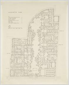 Ludwig Mies van der Rohe. Pavilion Apartments and Town Houses, Lafayette Park, Detroit, MI, Site plan. 1955-1963