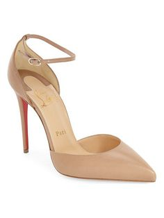 Christian Louboutin uptown ankle strap pointy toe pump